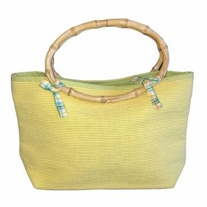 Cloth with Wooden Handles Purse, Yellow & Green